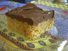 Great for Fall~ Peanut butter Rice Krispy Scotchies with melted chocolate topping.