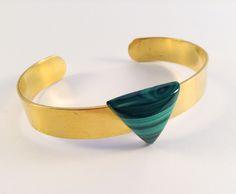 Laiton doré - Malachite Malachite, Cuff Bracelets, Charlotte, Jewelry, Brass, Jewlery, Jewerly, Schmuck, Jewels