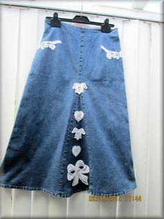 Upcycled Denim Embllished Ladies Midi Skirt  by KraftytKiwiKorner
