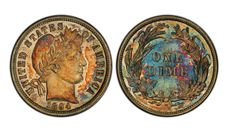 The Barber Dime is one of only 24 that were ever made, according to Stack's Bowers Galleries, which held the auction Thursday night. Coin Dealers, Hansen Is, Coin Auctions, Coin Design, Coin Art, Auction Bid, American Coins, Tiny Treasures, Half Dollar