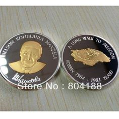 Top selling 5pcs/lot Wholesale Robben Island Gold+silver Coins Nelson Rolihlahla Mandela South Africa 1OZ pure Gold Clad Coins