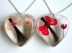 Lock of hair keepsake jewellery, love this idea!