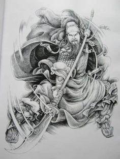 Guan Yu, Geisha, Ink Tattoo Studio, Tattoo Perna, Los Primates, Icon Tattoo, Chinese Picture, Paradise Tattoo, Tattoo Flash Art