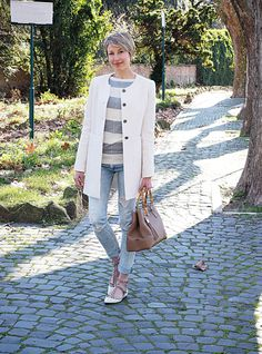 #fashion #style #look #outfit #valentino #shoes #rockstud #white #grey #closet #wear #dressup #fashionable #chic #streetstyle #style   www.coffeeblooms.com  White & Studs | Coffee Blooms