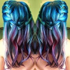 Kenra Color Creative work by Hillary Sapp. #BlueHair #TealHair