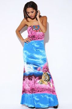 Trendy Cute blue pink print embellished tube summer evening maxi dress fo cheap | Affordable Clothing | 1015 store