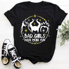 Bad Girls Have More Fun Shirt – Flop The World Pop Disney Villains Shirt Shirt for Disney Ursula Maleficent Evil Queen Disney Villain Shirt, Disney World Shirts, Disney Villains, Disney Vacation Shirts, Disney Princesses, Disney Movies, Disney Characters, Cute Disney Outfits, Cute Disney Shirts