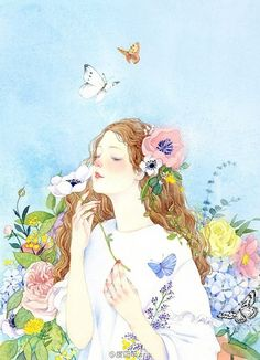 Image shared by Panda★Hero. Find images and videos about girl, art and flowers on We Heart It - the app to get lost in what you love. Art And Illustration, Watercolor Illustration, Watercolor Paintings, Painting & Drawing, Digital Art Girl, Anime Art Girl, Manga Girl, Aesthetic Art, Cute Drawings