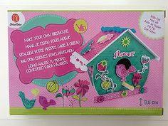1 Vogelhaus Vögelhäuschen Basteln MDF Vogel Blumen Geschenk Kinder Neu Filz Deck