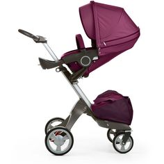 Stokke Xplory Adjustable Stroller ($1,225) ❤ liked on Polyvore featuring baby, children, kids gear strollers and purple