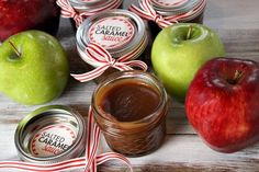 Homemade Salted Caramel Sauce in a jar - what a great gift with some apples in a basket!