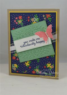 """Blog Post Date:  June 5, 2016.  A Friendship/Love card. Supplies used for this project include: Love & Affection and Papillon Potpourri stamp sets, Affectionately Yours Specialty Designer Series Paper, Floral Affection Textured Impressions embossing folders for the Big Shot, Pearl Basic Jewels, Gold Metallic Thread, 5/8"""" Organza ribbon, and the Elegant Butterfly punch."""