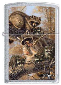 Zippo Linda Pickens Collection Bandits Raccoons Lighter