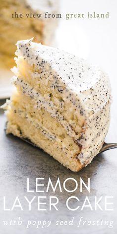 Lemon Layer Cake with Lemon Poppy Seed Buttercream ~ a 3 layer cake topped with a lemon poppy seed frosting. The ultimate lemon poppy seed cake recipe! #dessert #lemoncake #poppyseed #lemonpoppyseed #layercake Lemon Desserts, Lemon Recipes, Just Desserts, Baking Recipes, Delicious Desserts, Cake Recipes, Dessert Recipes, Yummy Food, Lemon Layer Cakes