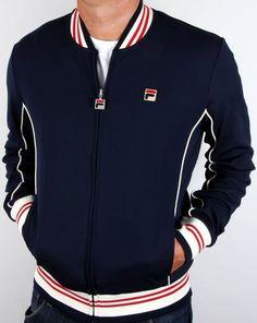 efa602bbcb65 Fila Vintage Baranci Track Top Navy,tracksuit,jacket,mens Recycled Mens  Shirt,