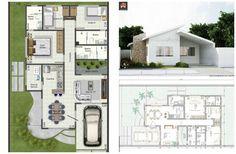 Projeto 3d casa térrea 3 quartos