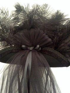 Black Steampunk Tricorn riding hat Lady Pan by Blackpin on Etsy