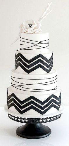 Bold Black & White Chevron Tiered Cake