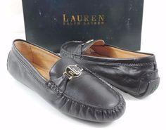 LAUREN Ralph Lauren CARLEY Loafer Driving Moccasins Leather Black Size 9.5 #LaurenRalphLauren #LoafersMoccasins #Casual
