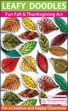 This fun Fall and Thanksgiving printable leaf doodle art activity for children is ideal for upper elementary teachers to use as a quick and easy art lesson plan in the classroom. Coloring pages, creative writing for grade 4, grade 5, grade 6 #fallactivities #kidscrafts #thanksgiving #Theimaginationbox