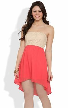 Deb Shops #Strapless #Dress with #Lace Bodice and Contrast Chiffon High Low Skirt $25.00
