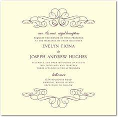 Letterpress Wedding Invitations Wonderful Whirls - Front : Black