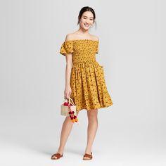 Women's Off the Shoulder Smocked Floral Dress - Xhilaration Berry (Pink) Xxl