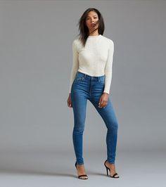 Kate High Rise Medium Wash Skinny Jeans Super Skinny, Skinny Legs, Stretch Denim, Stage, Blazer, Crop Tops, Medium, Chic, Blouse