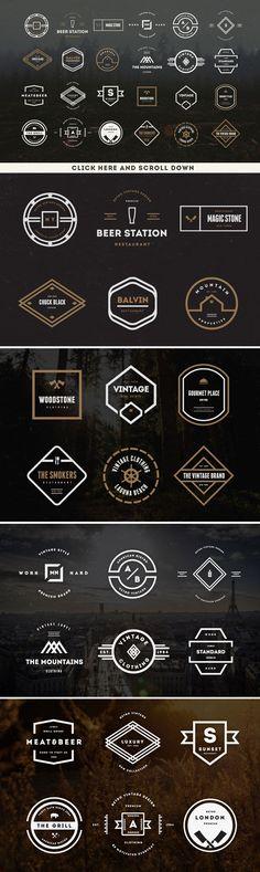 BIG BUNDLE 73 Vintage Logos Badges by DesignDistrict on @creativemarket