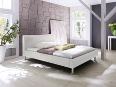 Diamond Sofa River Queen Bed in Mink Leatherette with Metal Leg Contemporary Bedroom, Modern Bedroom, Bedroom Furniture, Home Furniture, Bedroom Drapes, Discount Furniture Stores, Bed Platform, California King Bedding, Beds For Sale