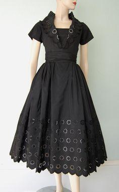 1950s Black Taffeta Belted Dinner Dress with Eyelet Design - Portrait Collar