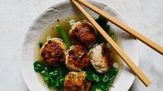 Ginger-Chicken Meatballs with Chinese Broccoli Recipe | Bon Appetit - easier to find ground turkey!  Worth a try!