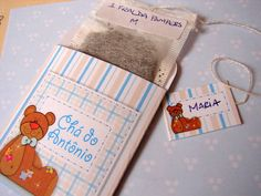 Convite de chá de bebê saquinho de chá de tema Urso e Lua. Inclui o sachê de chá e a etiqueta para a mamãe escrever o presentinho. R$ 2,30
