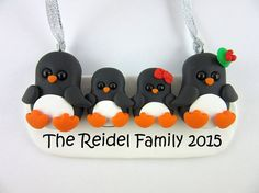 Personalize Family of Four Penguins Christmas Ornament Polymer Clay