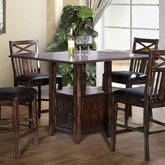 "The+Augusta+Counter+Height+Dining+Collection+by+ECI+Furniture+in+a+beautifully+detailed+rustic+mahogany+finish.+Features+a+sharp+table+base+with+storage.+46""+square+table+is+perfect+for+entertaining+up+to+8+people."