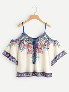 Shop Aztec Print Cold Shoulder Lace Up Top online. SheIn offers Aztec Print Cold Shoulder Lace Up Top & more to fit your fashionable needs. White Short Sleeve Shirt, Laced Up Shirt, Tops Boho, Bohemian Blouses, White Cold Shoulder Top, Shoulder Tops, Shoulder Cut, Shoulder Sleeve, Crop Tops