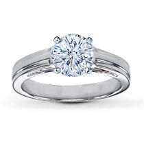 Crafted to display a diamond, this is a solitaire ring setting rich in style and made of white gold with high polish. Jared Engagement Rings, Engagement Ring Images, Designer Engagement Rings, Vintage Engagement Rings, Types Of Wedding Rings, Diamond Ring Settings, Ideal Cut Diamond, Gold Solitaire Ring, Cute Rings