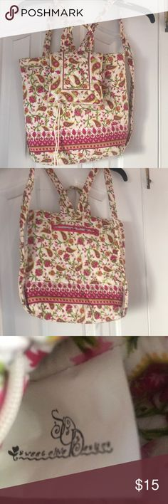 """Floral print drawstring backpack bag Floral print bag by Sweet Olive Designs features paisley and floral pattern in light and dark pink, green, and yellow on a creamy white background. Drawstring and magnet closure. Back straps with back zippered pocket. Measures approximately 12x12"""". Like new condition, never used. Similar to Vera Bradley. 100% cotton. Machine wash. Sweet Olive Designs Bags Backpacks"""