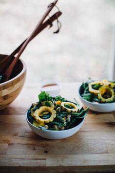 delicata squash sunshine salad w/ miso sriracha dressing via will frolic for food (vegan & gluten free)