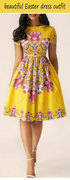 Short Sleeve Printed High Waist Dress Source by scarlet Latest African Fashion Dresses, African Dresses For Women, African Print Fashion, African Print Dresses, African Attire, Africa Fashion, Chitenge Dresses, Chitenge Outfits, African Fashion Designers