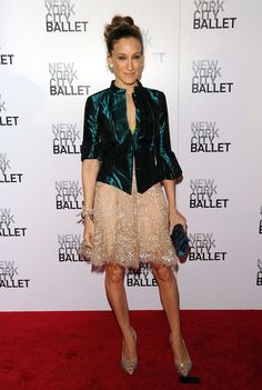 "Sarah Jessica Parker Lookbook: Sarah Jessica Parker wearing Alexander McQueen Peep Toe Pumps (13 of 26). The ""Sex and the City"" star walked the red carpet in a stunning pair of heart-shaped peep toe satin pumps with sparkling embellishments."