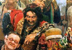 """Фрагмент копии картины И.Е. Репина """"Запорожцы пишут письмо турецкому султану""""."""