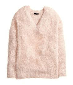 Pastel pink fluffy jumpers, Pastel pink mink hair pullover, one ...