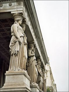 Vienna A011    The Austrian Parliament Building (German: Parlament or Hohes Haus, formerly the Reichsratsgebäude) in Vienna is where the two Houses of the Parliament of Austria conduct their sittings. #art #statues