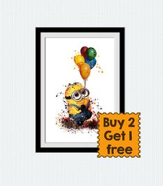 Despicable me colorful print Minion watercolor poster Minions print Home decoration Kids room decor Nursery room art Gift for birthday  W224