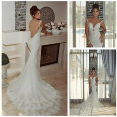 First Class Quality Sweetheart Spaghetti Straps Custom Made Backless Wedding Dress Lace Mermaid