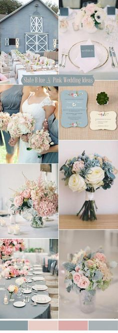 Blue Wedding Flowers slate blue and blush pink wedding colors ideas Wedding 2017, Chic Wedding, Perfect Wedding, Our Wedding, Dream Wedding, Wedding Blue, Trendy Wedding, Garden Wedding, Wedding Summer