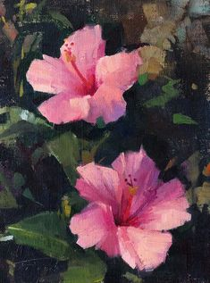 Patrick Saunders Fine Arts - Floral Painting - Oil on Linen - Double Pink Flower Painting Canvas, Pink Painting, Oil Painting Flowers, Canvas Wall Art, Simple Oil Painting, Aesthetic Painting, Oeuvre D'art, Les Oeuvres, Flower Art