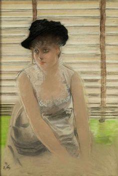 L'Attente, Waiting - Giuseppe de Nittis. Italian, 1846 - 1884 Pastel on silk, 93 x 65 cm.