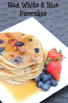 I love festive food on holidays. I love celebrating our country's independence with lots of red, white and blue foods…and in this case it's Red, White & Blue Pancakes for breakfast with strawberries, blueberries and ground almonds. Red. White. Blue. BOOM.  | 5DollarDinners.com